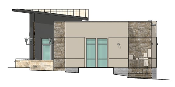 rendering of west elevation of building 1