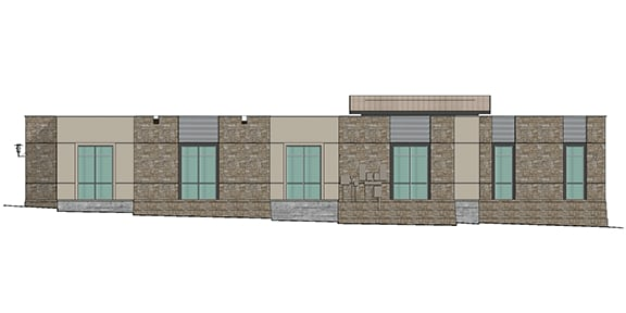 south elevation rendering showing six windows