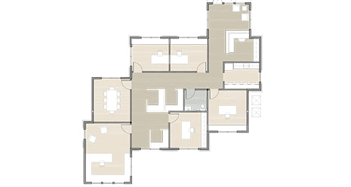 rendering of a floor plan for an office suite