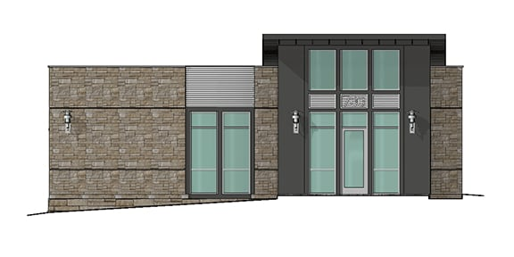 rendering of an office suite entrance door