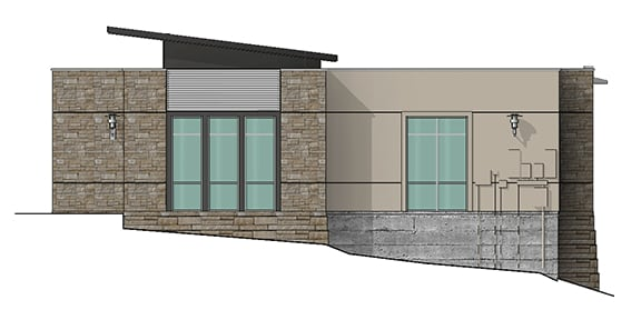 east elevation render of building 8 at Dominion Place