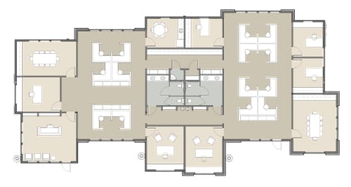 office building rendering of offices and cubicles