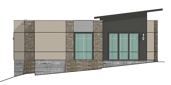 west elevation render of office building 9
