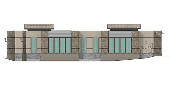 north elevation render of building 9