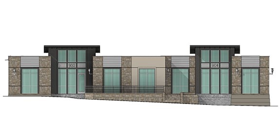 front view render of building 9