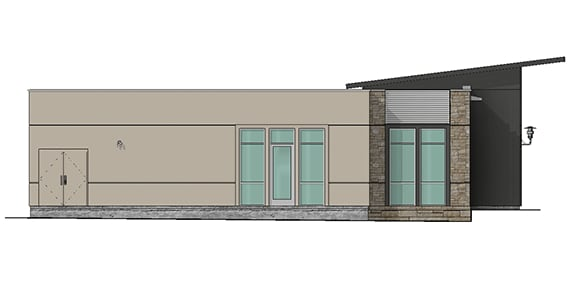 east elevation render of building 10