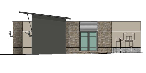 side render of building 10 showing side of entrance