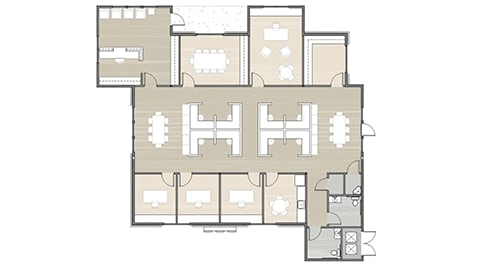 small floor plan of an office building showing office layout