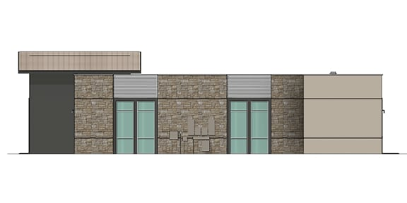 office side view render showing windows and piping