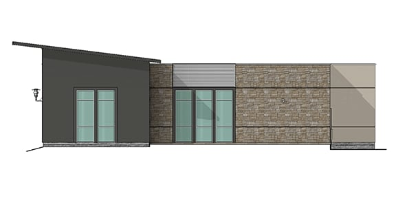 side view render showing windows and brick siding