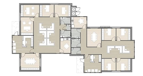 floor plan render of a large office
