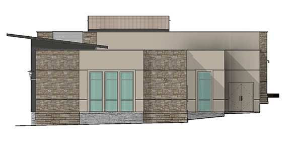 render of office showing windows and brick walls
