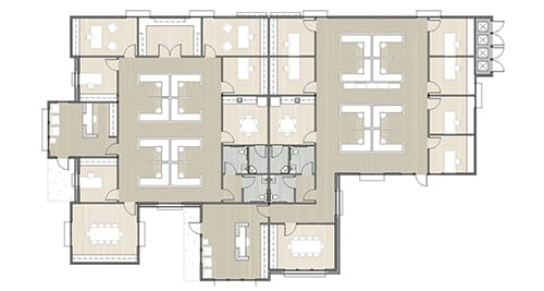 office floor plan for a larger company