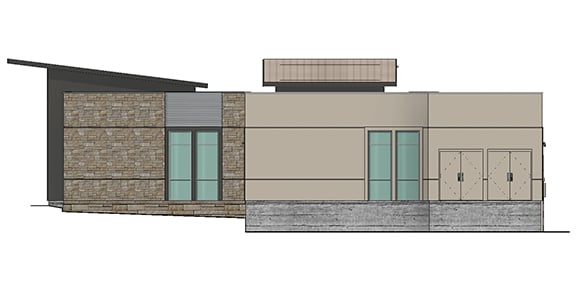 render of a side of an office building