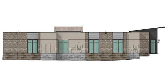 render of east side view of an office