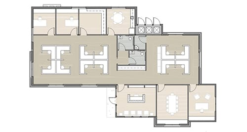 floor plan of office with 8 cubicles and 4 office rooms