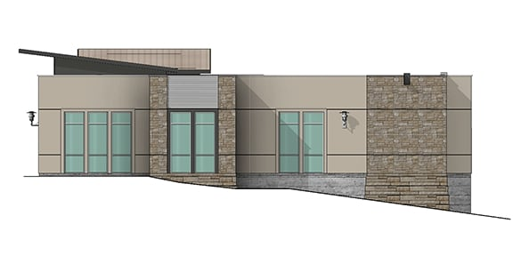 rendering of a backside of an office