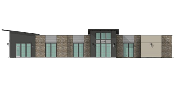 Building 15 rendering of front side